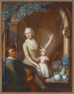 Muzikant speelt voor een jonge vrouw en een kind in een boogvenster