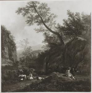 Italianiserend berglandschap met herders en geiten