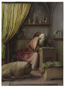 De H. Hieronymus aan zijn schrijftafel in zijn studeervertrek