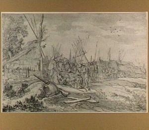 Soldatenkampement bij een bouwvallige boerderij