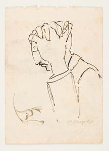 Zittende man, mogelijk schrijvend of tekenend, die zijn hoofd ondersteunt
