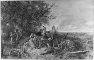 Een jongen omringd door kinderen aan het schilderen met het schildergerei van de kunstenaar die wegloopt