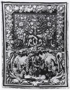 Orpheus en de dieren in een cartouche en hoornen des overvloeds