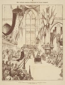 De eedsaflegging van koningin Wilhelmina bij haar inhuldiging in de Nieuwe Kerk te Amsterdam
