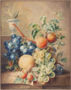 Vruchtenstilleven op marmeren plint