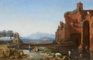Italiaans landschap met baders tussen ruïnes