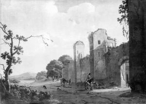 Zuidelijk landschap met reizigers bij een ruïne
