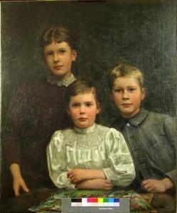 Familieportret van de kinderen Star Numan in Den Haag