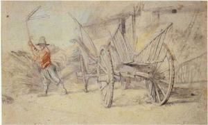 Dorsende boer bij een hooiwagen voor een boerderij