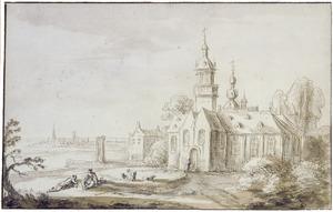 Kerkgebouw in een landschap