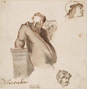 Gebaarde man leunend op een plint, kop van een vrouw en van twee gehelmde mannen