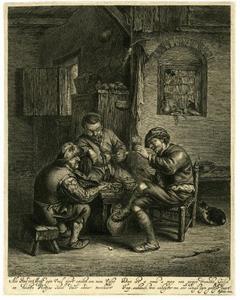 Drie boeren zittend rond een bankje