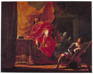 Saul probeert in zijn razernij  de harpspelende David te doden met zijn speer  (1 Samuel 18:11) Saul casts his spear at David when the latter is playing his harp before the king  (1 Samuel 18:11) 71H153