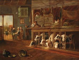 Stalinterieur met kooien, kippen, mensen en een ezel