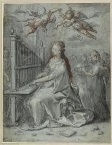De heilige Cecilia met engelen