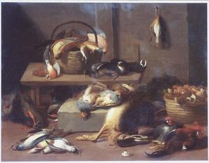 Keukeninterieur met gevogelte, vogels, een dode haas, een zwijnskop en paddenstoelen in een mand