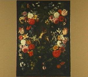 Bloemenkrans rond een voorstelling van Venus en Adonis