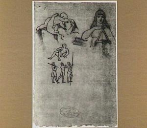 Vrouw met kind, vrouw met triangel en andere figuurstudies