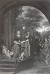 Twee vrouwen en een kind voor hun huis luisterend naar straatmuzikanten