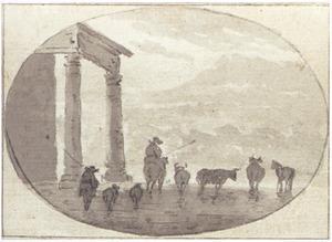 Italianiserend berglandschap met herders en vee bij een tempel