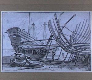 Scheepstimmerwerf met scheepsbouwers