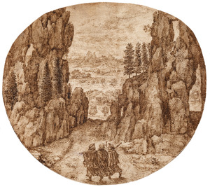 Rotsachtig landschap met Christus en zijn discipelen op weg naar Emmaus