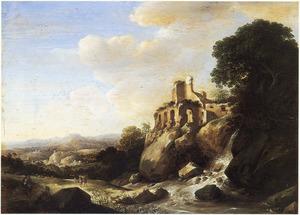 Zuidelijk landschap met een ruïne bij een waterval; op de voorgrond rustende reizigers