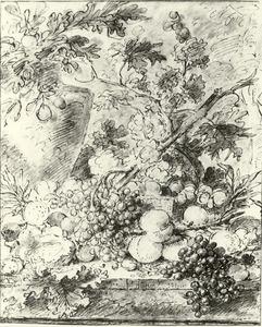 Vruchtenstilleven in en rond een rieten mand met links een vaas waaruit bladeren steken op een stenen plint