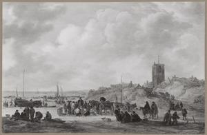 Visverkoop op het strand bij Egmond
