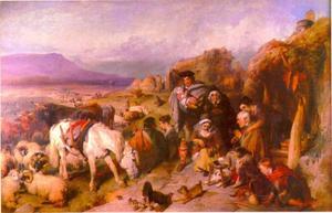 Het vertrek van de veedrijver, scene in de Grampians