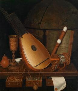 Stilleven met siervaatwerk en muziekinstrumenten