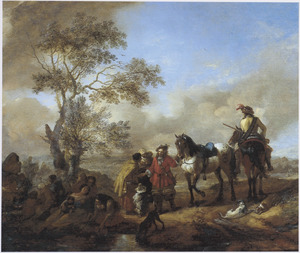 Landschap met jagers bij een groep zigeuners