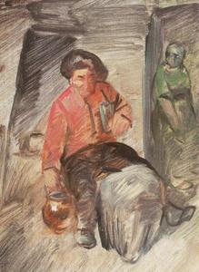 Drinkende boer in een herberg
