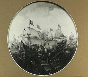 Zeeslag met driemasters en galeiën