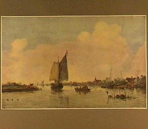 Riviergezicht met zeilboot en een roeiboot; op de rechteroever een boerderij en een kerk