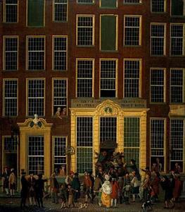 De boekhandel en het loterijkantoor van Jan de Groot in de Kalverstraat in Amsterdam