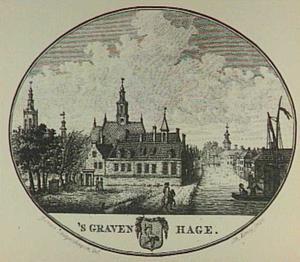Den Haag, het Zieken met het leprozenhuis en de Nieuwe Kerk, links de toren van de Grote of Sint Jacobskerk