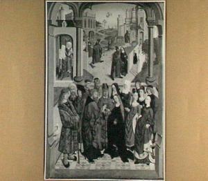 Het huwelijk van Maria. In de achtergrond (van links naar rechts) de geboorte van Maria, Joachim wordt de tempel uitgejaagd, de verkondiging aan Joachim, de ontmoeting bij de Gouden Poort en de presentatie van Maria in de tempel