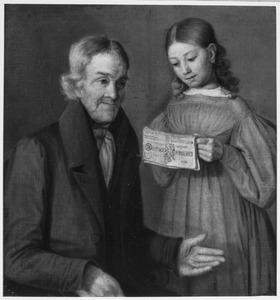Portret van een man, waarschijnlijk Nicolaas Scheltema (1758-1846) met mogelijk zijn kleindochter