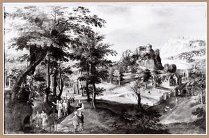 Weids landschap met de roeping van Zachaeus