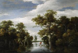 Boslandschap met een herder en zijn kudde die een rivier oversteken
