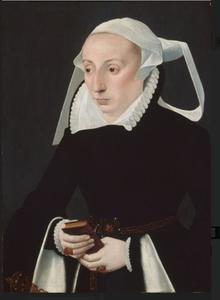 Portret van een vrouw met een gebedenboek