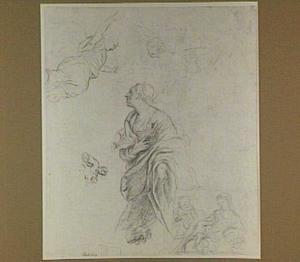 Studieblad met knielende vrouw en engelen (de Annunciatie?), rechts de heilige familie en links Maria met kind