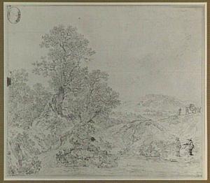 Heuvellandschap met vissers