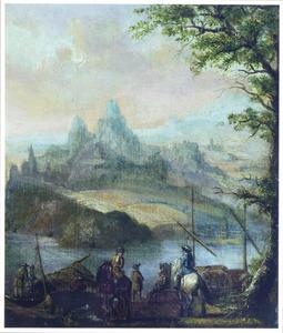 Berglandschap met ruiters bij een aanlegplaats