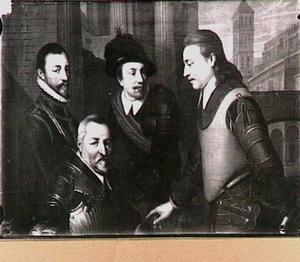 Groepsportret van de vier broers van Willem I, prins van Oranje: Jan (1536-1606), zittende, Hendrik (1550-1574), Adolf (1540-1568), en Lodewijk (1538-1574), graven van Nassau
