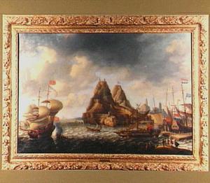 Hollandse en Engelse schepen in de haven bij Vélez de la Gomera