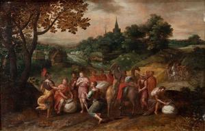 Joseph's broers op hun weg naar Egypte om graan te kopen (Genesis 42)