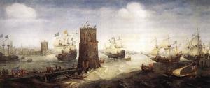 Een Haarlems koggeschip doorbreekt de havenketting bij de inneming van Damiate op 15 november 1219