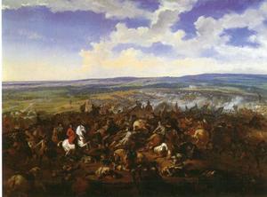 De slag bij Oudenaarde, 11 juli 1708: de troepen van Engeland, de Republiek en het Heilige Roomse Rijk onder leiding van de hertog van Marlborough en Eugenius van Savoie verslaan de Fransen onder Louis Joseph, duc de Vendôme en Louis, duc de Bourgogne, oudste kleinzoon en op dat moment) kroonprins van Louis XIV